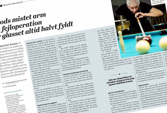 Artikel om Johnny Sort i bladet Efterskolen